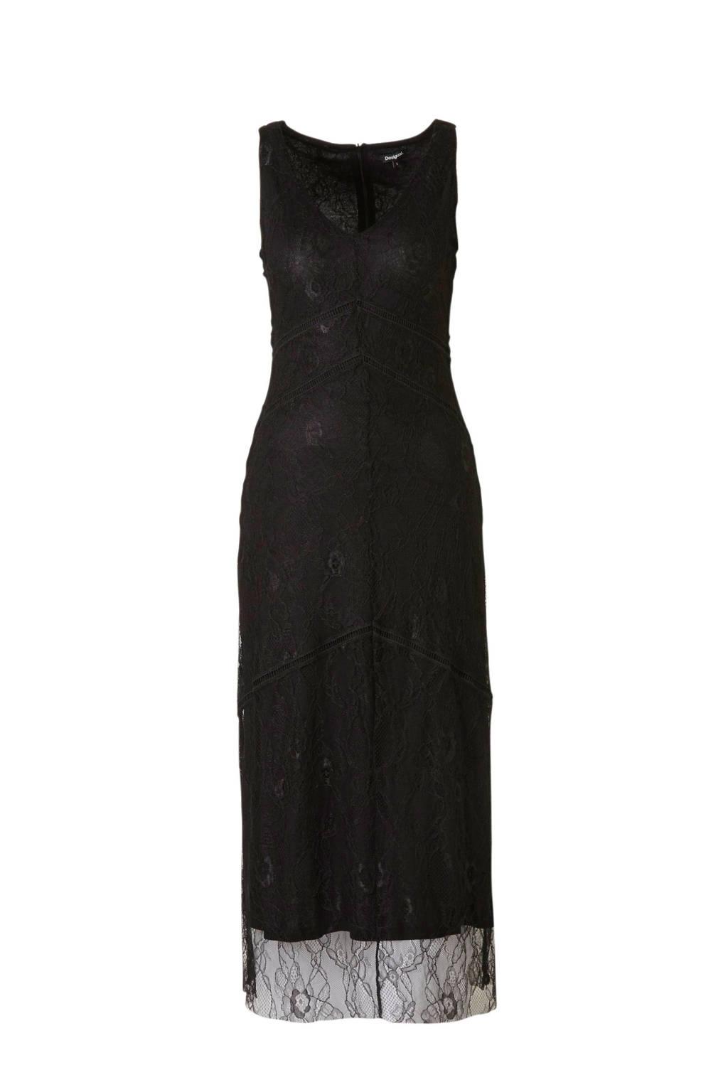 Desigual maxi jurk met kant zwart, Zwart