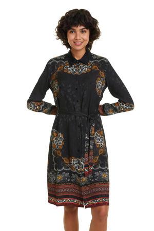 jurk met all over print en ceintuur zwart multi