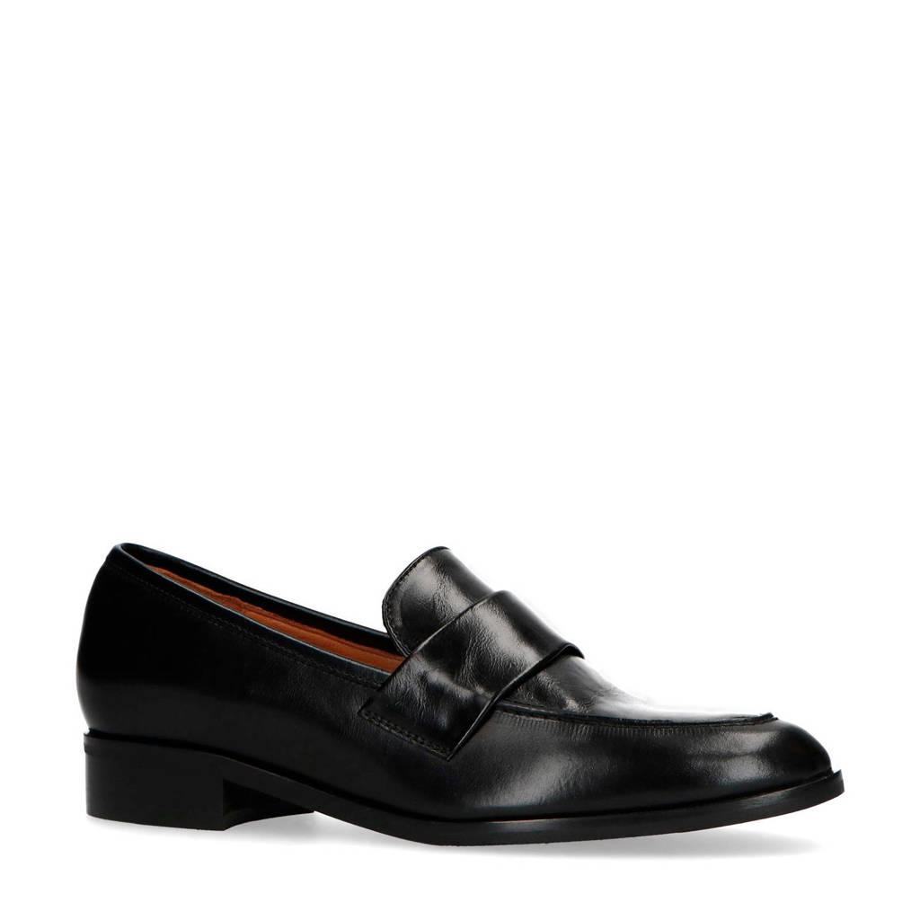 Manfield   leren loafers zwart, Zwart