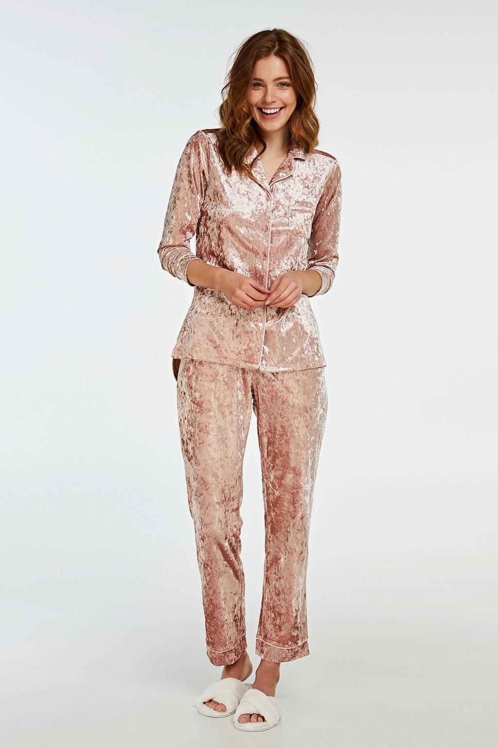 Hunkemöller crushed velour pyjama roze, Roze