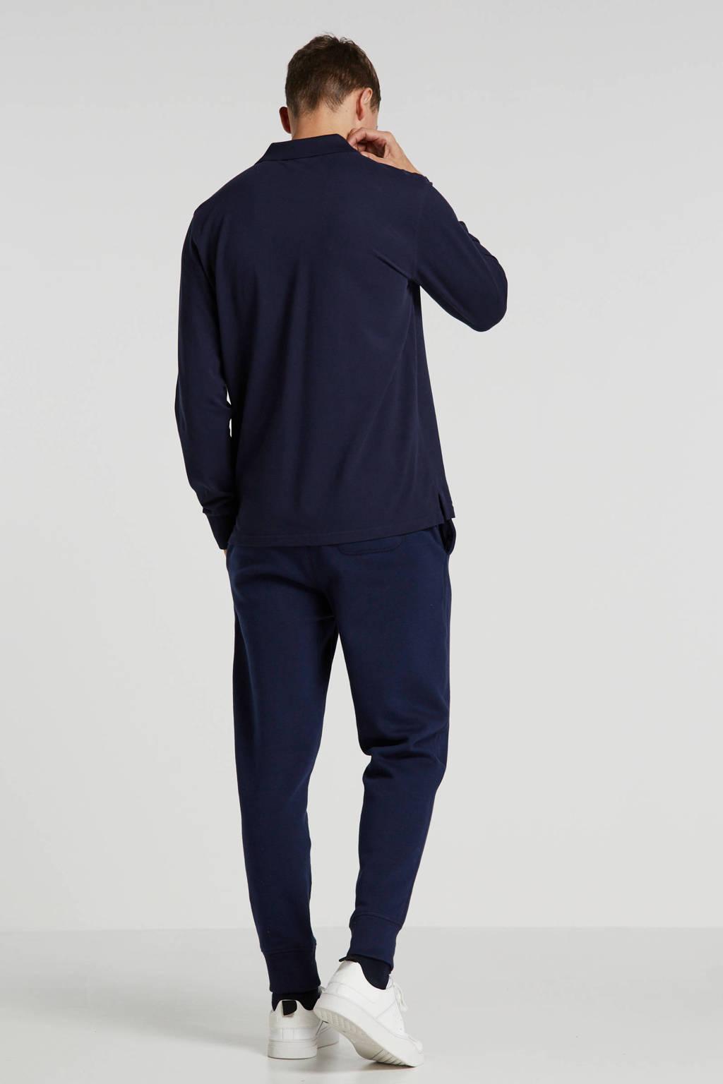 GANT kanten regular fit polo donkerblauw, Donkerblauw