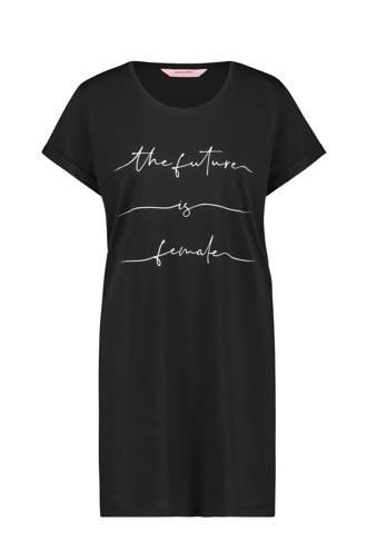 Nighties nachthemd met printopdruk zwart