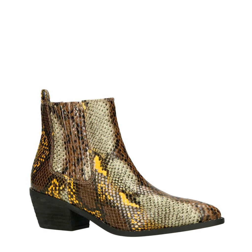 La Strada   chelsea boots slangenprint geel/bruin, Geel/bruin