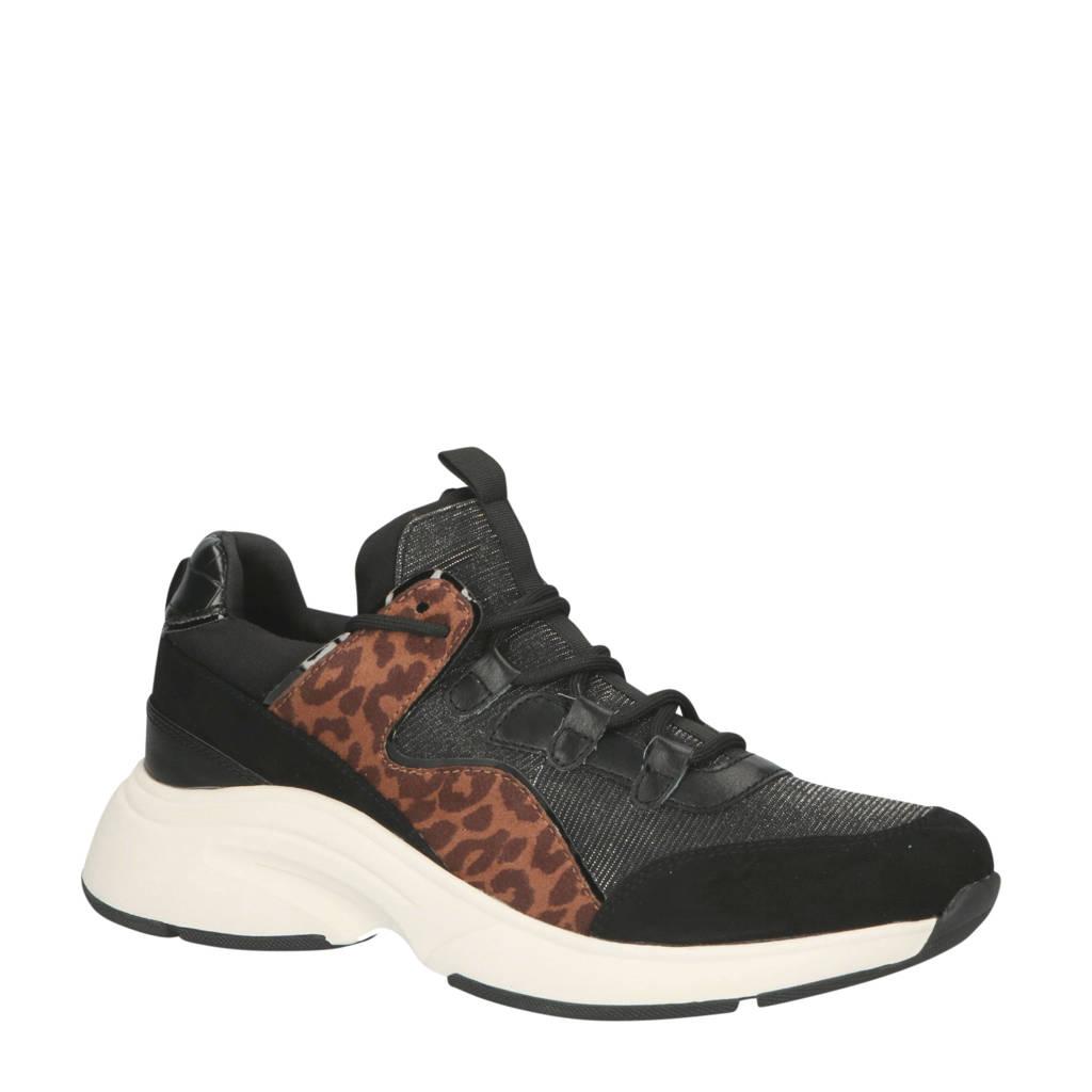 La Strada   chunky sneakers panterprint/zwart, Zwart/bruin