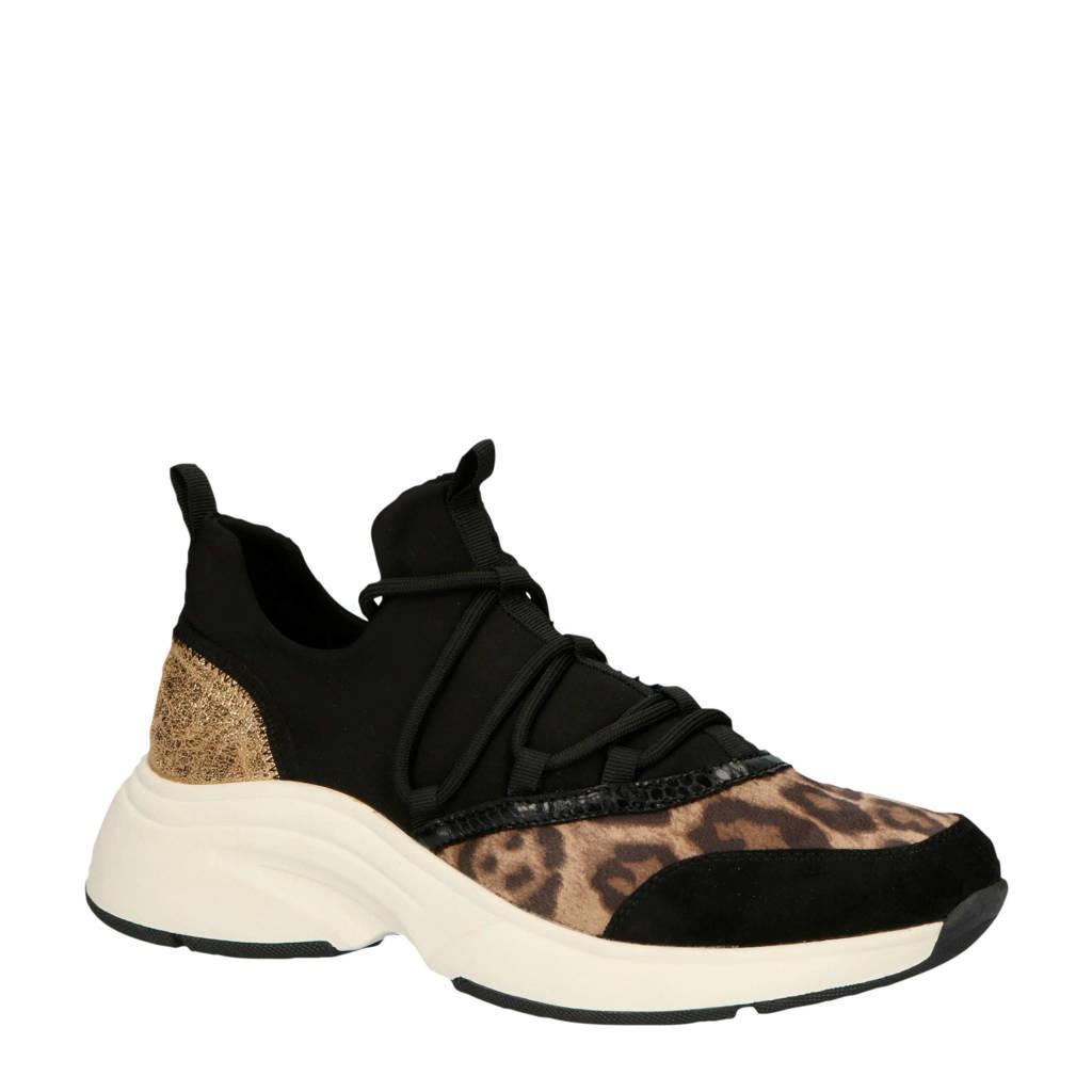 La Strada 1807917  sneakers zwart/panterprint, Zwart/bruin/goud