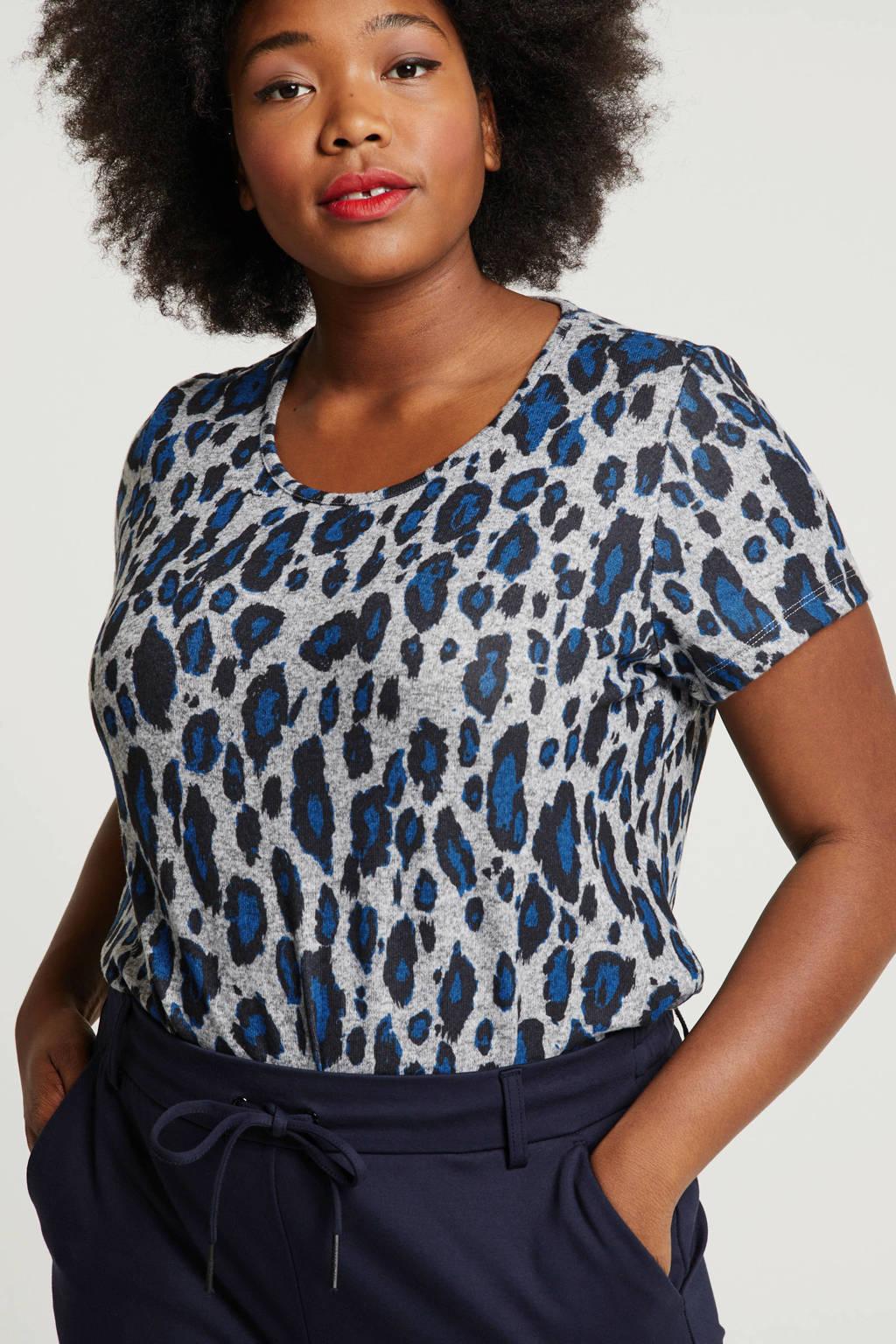 Studio Untold T-shirt met panterprint grijs/blauw/zwart, Grijs/blauw/zwart