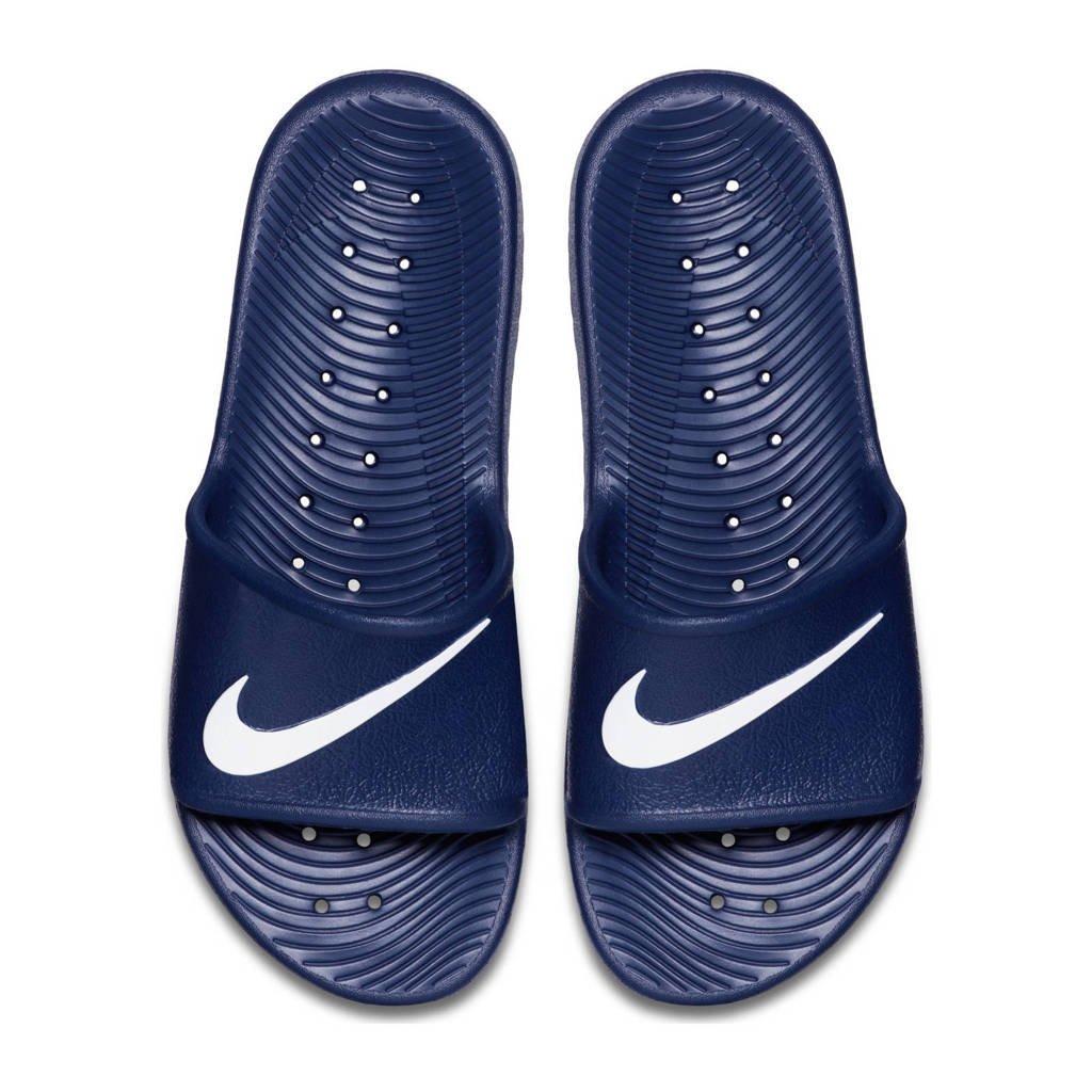 Nike  Kawa Shower badslippers blauw/wit, Blauw/wit