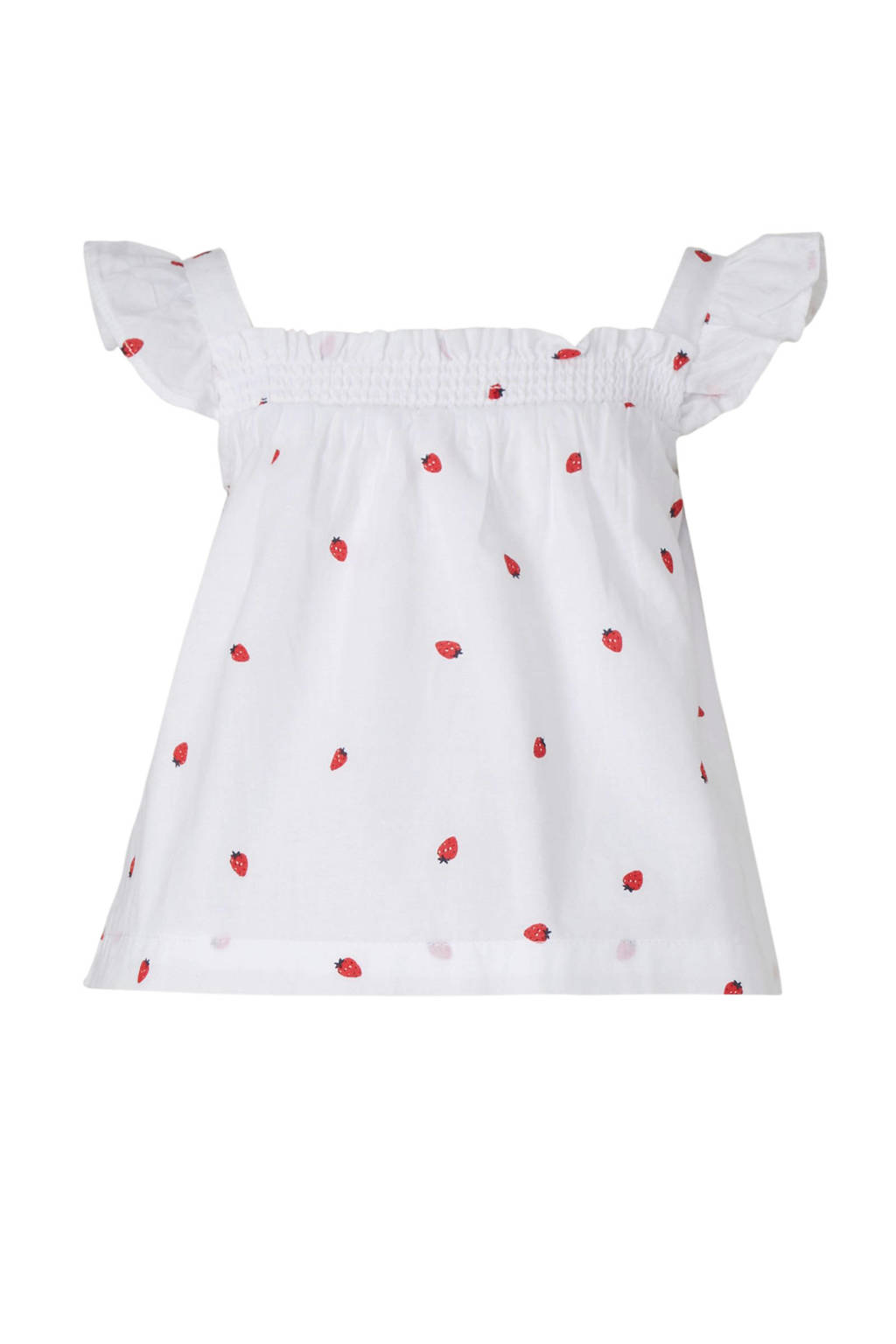 C&A Baby Club top met all over print en ruches wit/rood, Wit/rood