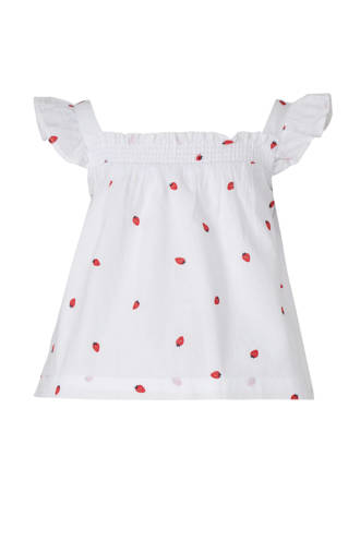 Baby Club top met all over print en ruches wit/rood