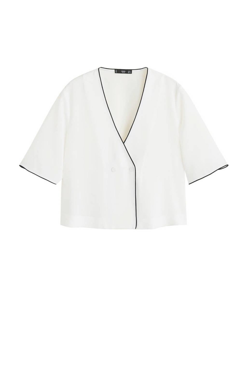 Mango blouse met contrastbies gebroken wit, Gebroken wit