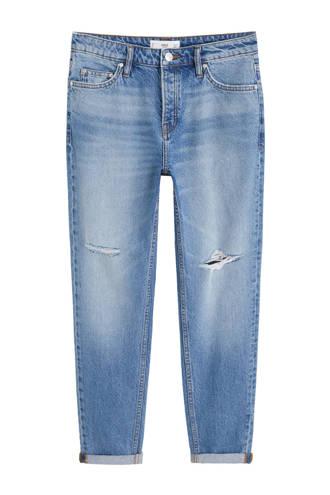 cropped regular fit jeans met slijtage