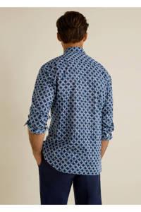 Mango Man regular fit overhemd met all over print blauw, Blauw