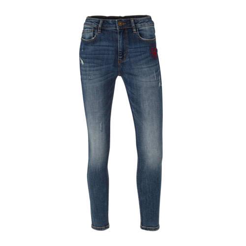 Desigual skinny jeans met borduursels blauw