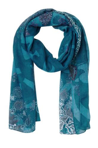 sjaal met all over print blauw