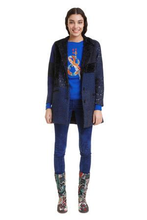 coat met wol en all over print blauw