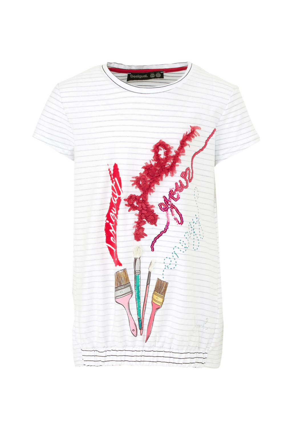Desigual gestreept T-shirt wit/grijs/roze