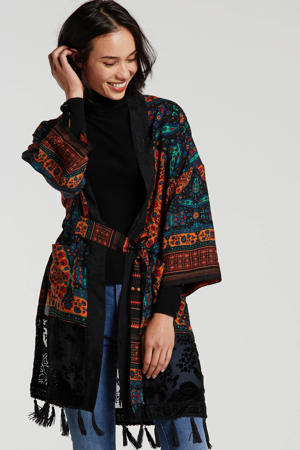 kimono met all over print en borduursels zwart