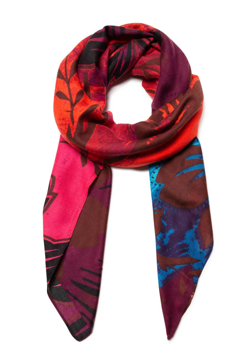 Desigual sjaal met all over print roze, Roze/blauw/bruin/zwart