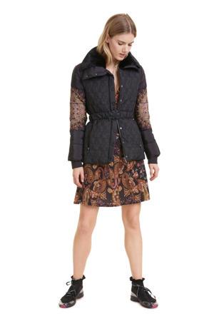 winterjas met printopdruk zwart