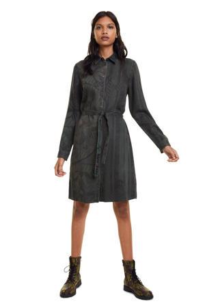 jurk met all over print en ceintuur groen/zwart