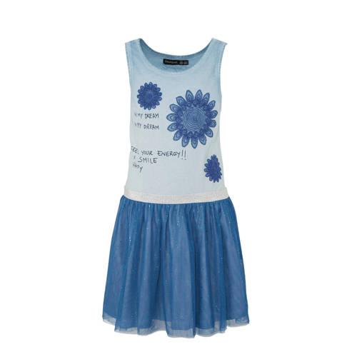 Desigual jurk met tule en borduursels blauw