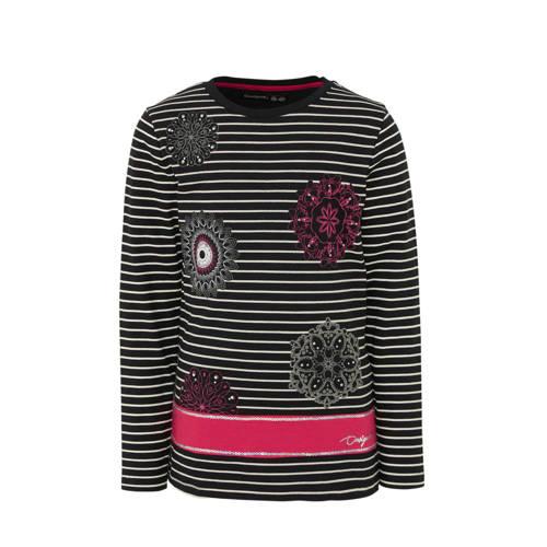 Desigual gestreepte longsleeve zwart-wit-roze