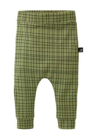 broek Criss met grafische print groen/ zwart