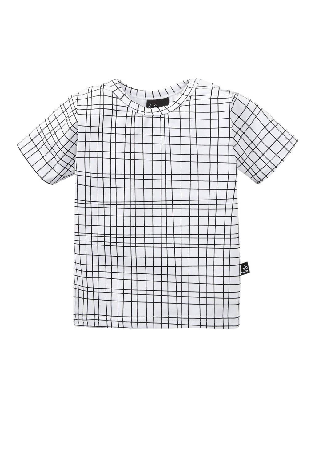 Babystyling T-shirt Criss met grafische print wit/ zwart
