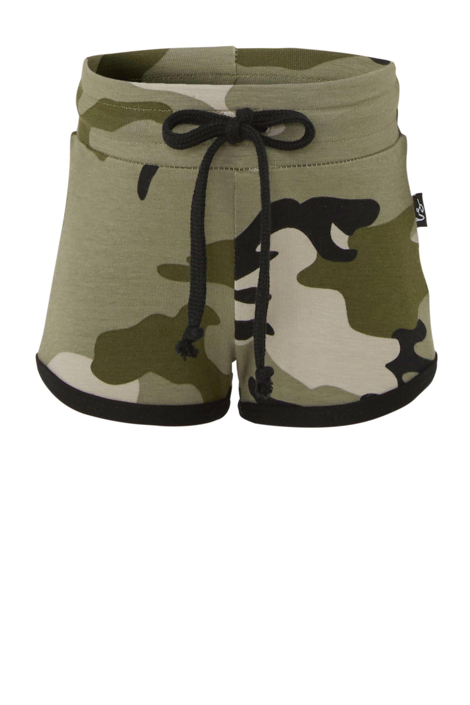 baby sweatshort met camouflageprint kaki