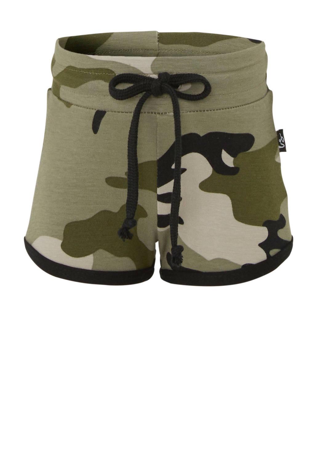 Babystyling baby sweatshort met camouflageprint kaki, Kaki