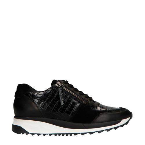 Manfield leren sneakers met slangenprint zwart