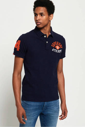 regular fit polo met logo en patches donkerblauw