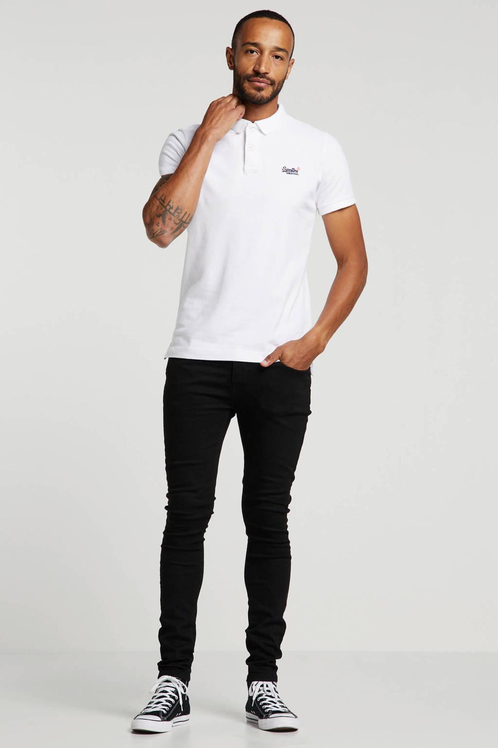 Superdry regular fit polo met logo wit, Wit