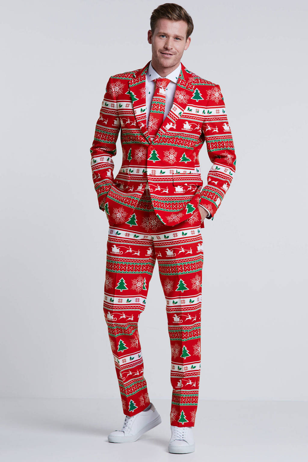 Opposuits kostuum Winter Wonderland, Rood