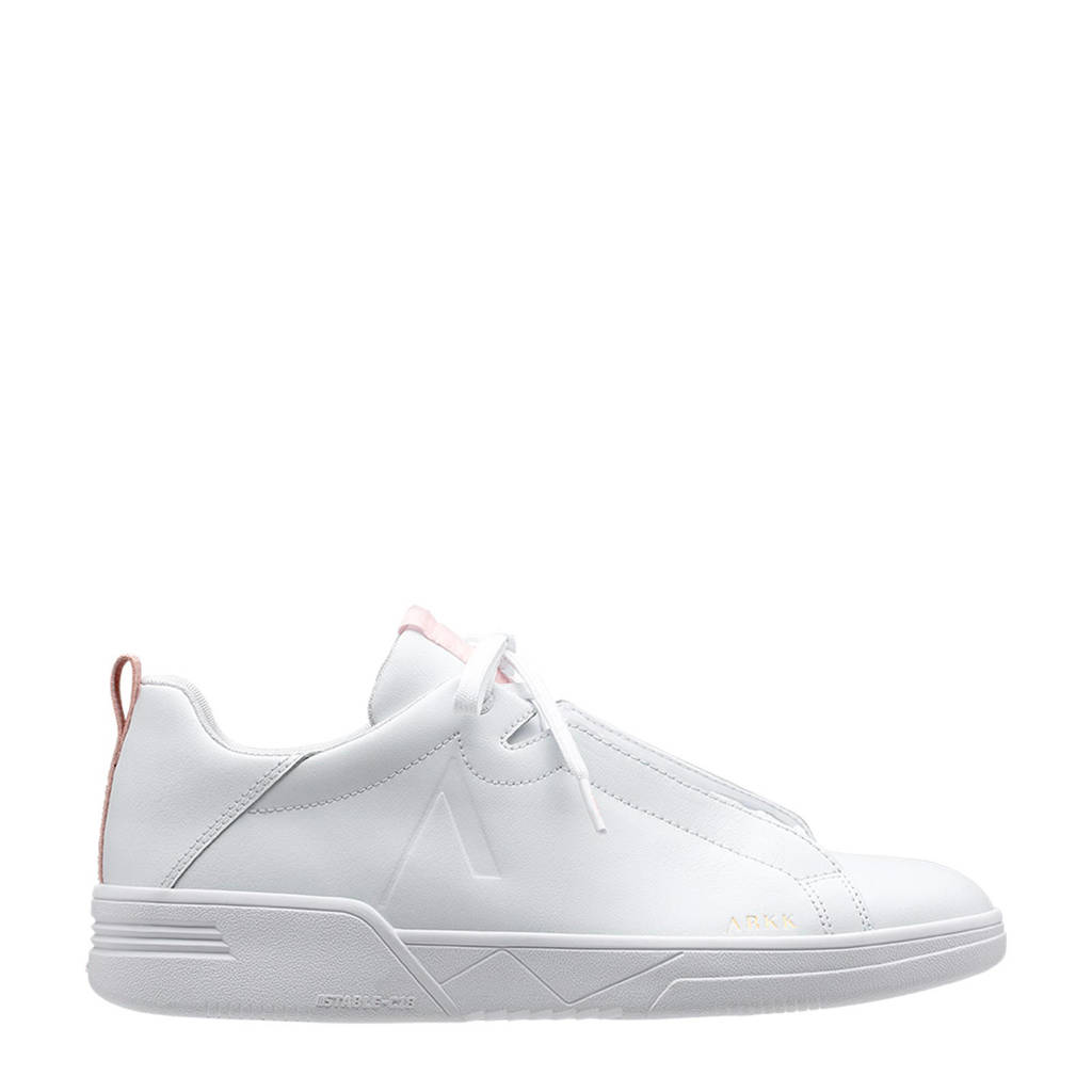 Arkk  Uniklass Leather S-C18 leren sneakers wit/roze, Wit/lichtroze