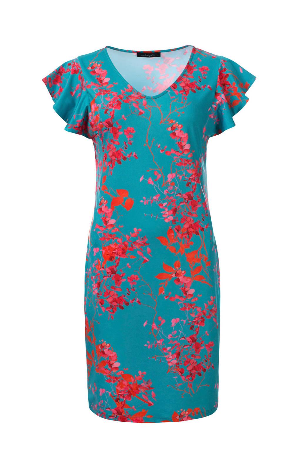 dayz Xevise jurk met volant, Turquoise/roze/rood