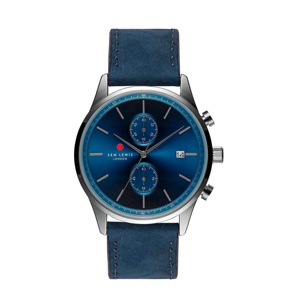 Sem Lewis Chronograaf horloge SL1100017 blauw, Blauw