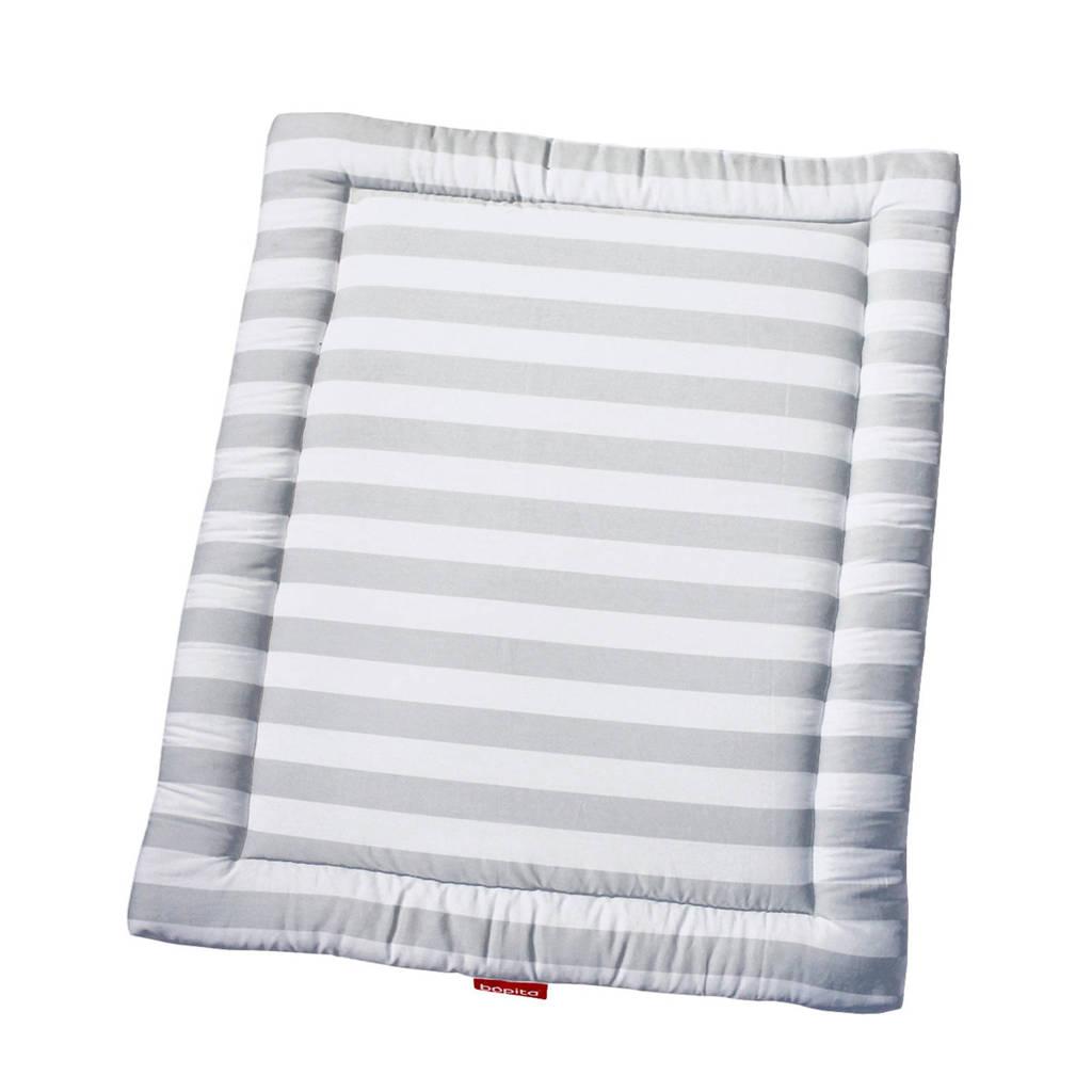 Bopita boxkleed streep grijs/wit 95x75 cm, Grijs/wit
