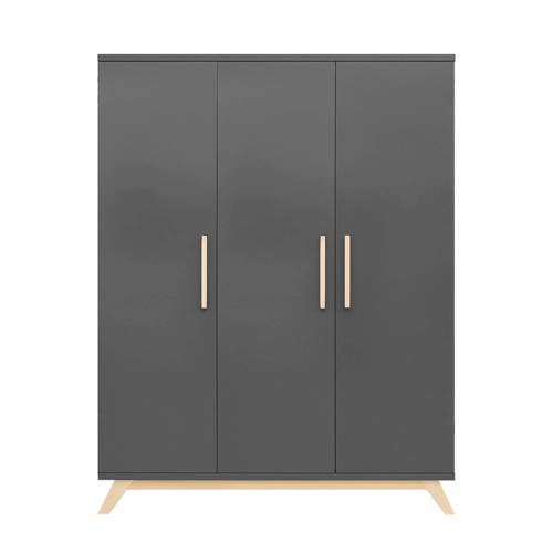 Bopita 3-deurskast Kyan deep grey/natural