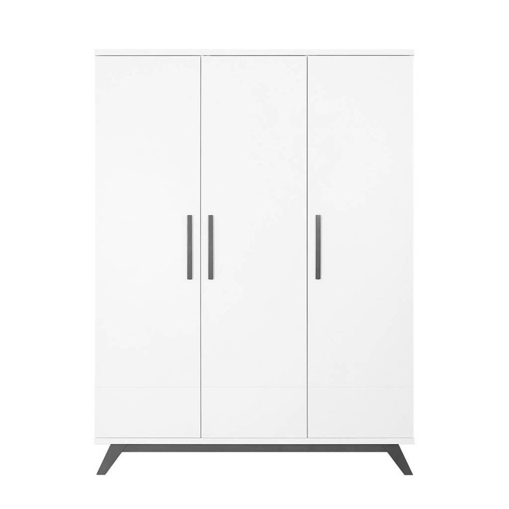 Bopita 3-deurskast Levi white/grey wash, White/Grey