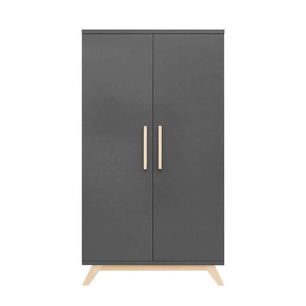 Bopita 2-deurs kledingkast Kyan deep grey/natural, Deep Grey/Naturel