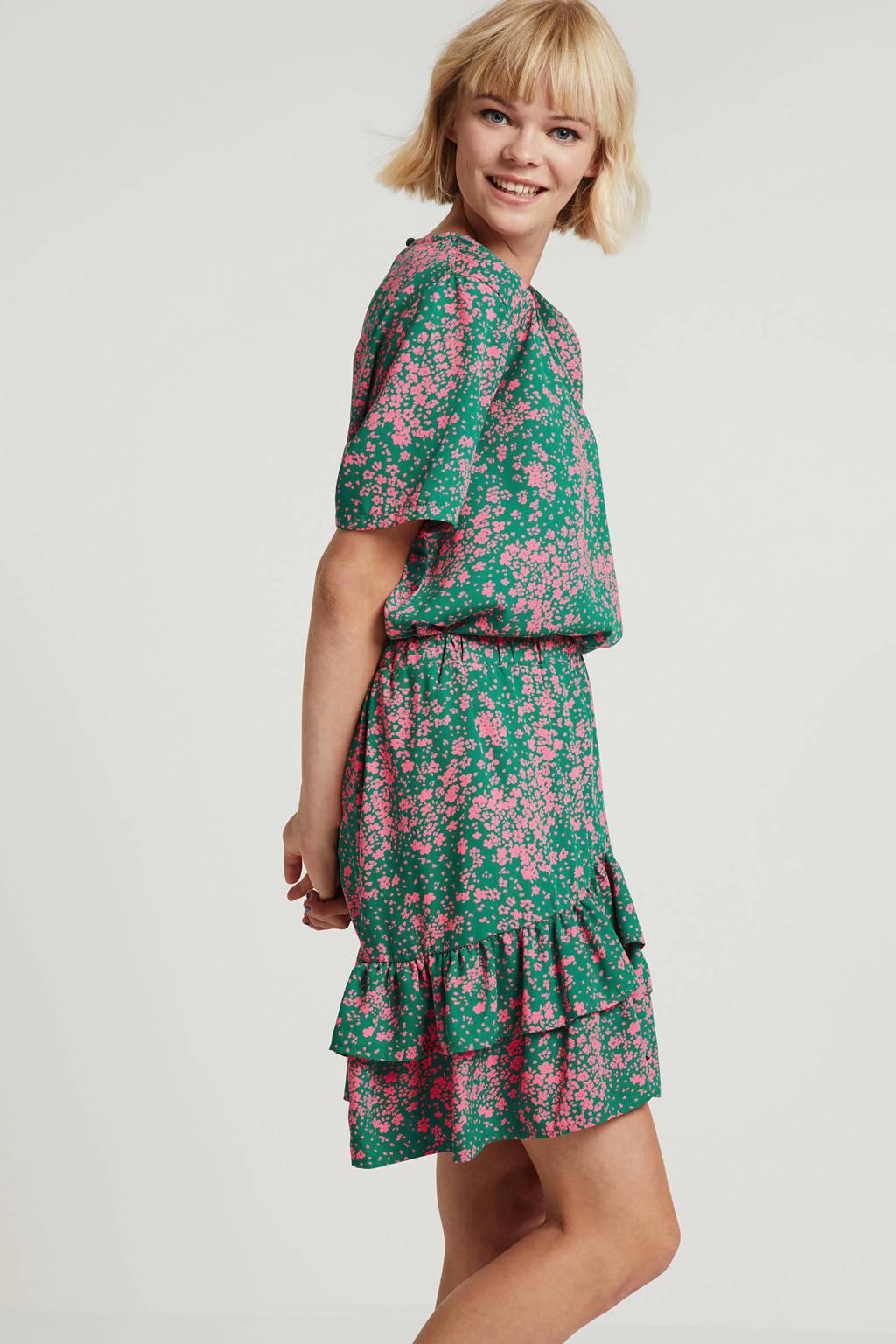 SisterS Point gebloemd T-shirt Len groen/roze, Groen/roze