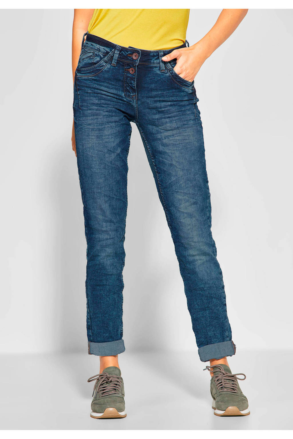 CECIL loose fit jeans Scarlett, Donkerblauw