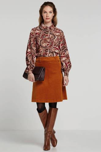 blouse met paisleyprint brique/ecru/donkerrood