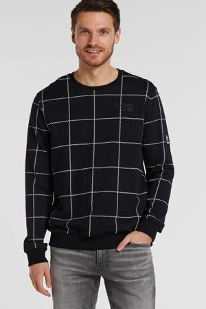 sweater met all over print zwart