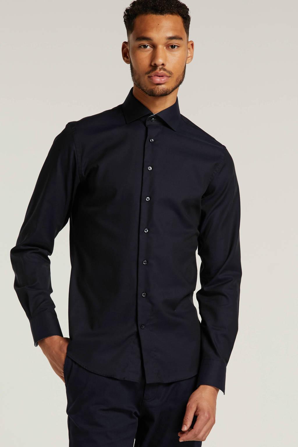 Profuomo slim fit overhemd donkerblauw, Donkerblauw