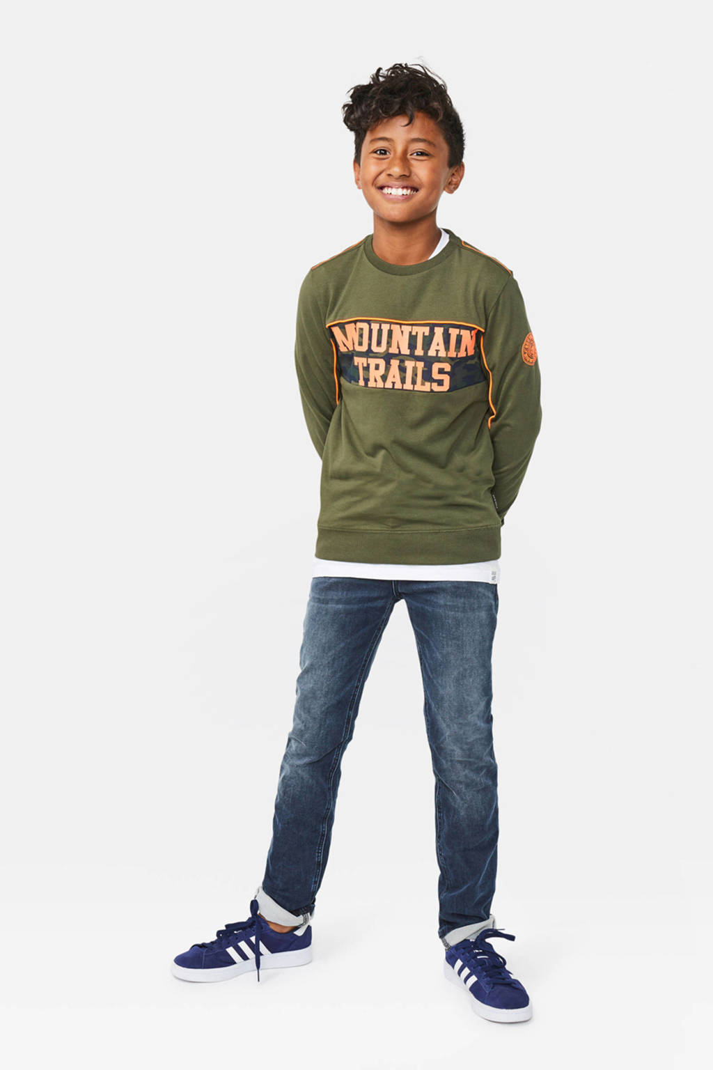 WE Fashion sweater Mountai met contrastbies donkergroen/oranje, Donkergroen/oranje