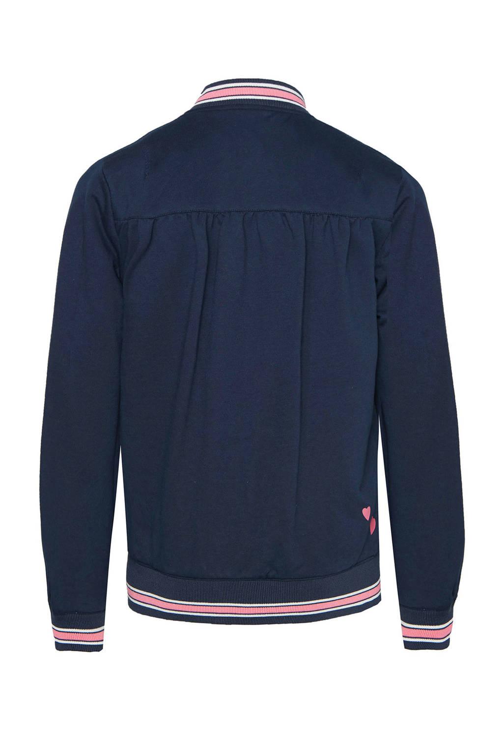 WE Fashion omkeerbare zomerjas met all over print blauw/zwart, Blauw/zwart
