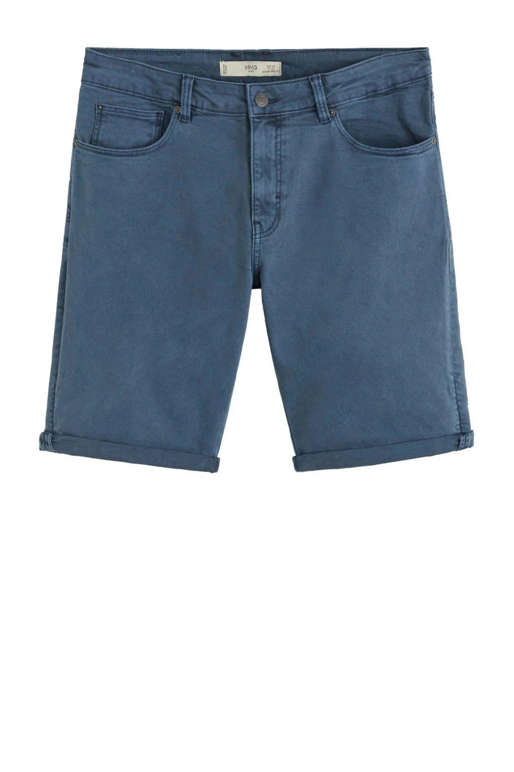 Mango Man regular fit jeans short, Marineblauw