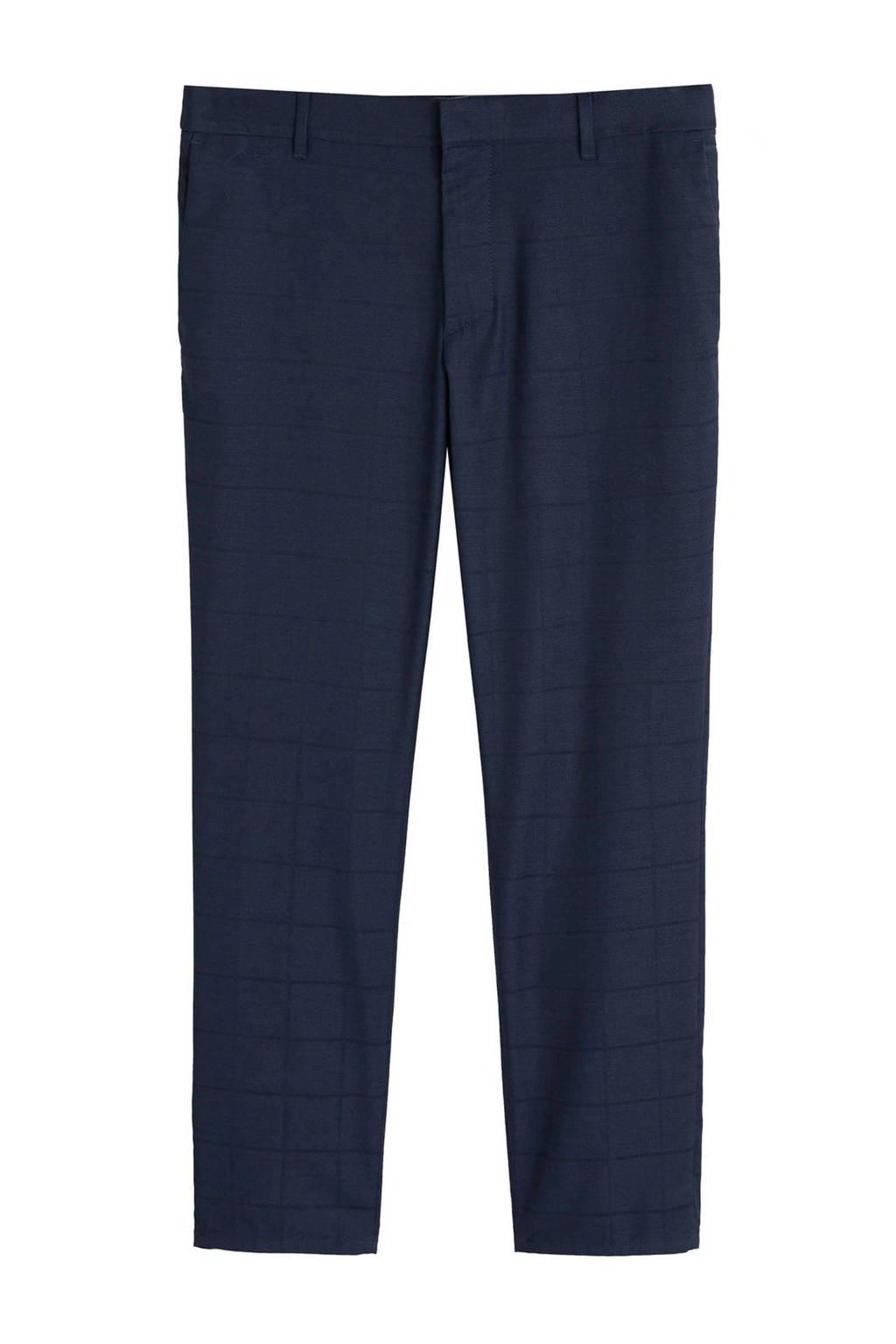 Mango Man slim fit pantalon met all over print, Donkerblauw